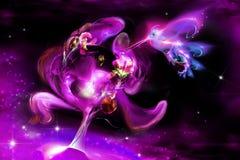 Fairytale luminous iris and humming-bird royalty free illustration