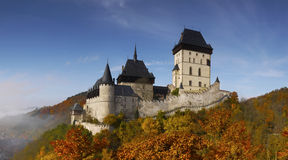 Fairytale Medieval Castle Panorama. The fairytale medieval Karlstejn Castle in autumn Royalty Free Stock Image