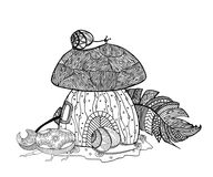 Fairytale mushroom and feather birds. Beetle and snail. Zen coloring book for adults. Tangle pattern. Vector illustration Stock Photo