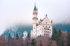 Fairytale Neuschwanstein Castle, Bavaria, Germany. World-famous tourist attraction in the Bavarian Alps, fairytale Neuschwanstein or New Swanstone Castle, the royalty free stock photo