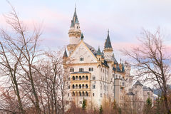 Fairytale Neuschwanstein Castle, Bavaria, Germany. World-famous tourist attraction in the Bavarian Alps, fairytale Neuschwanstein or New Swanstone Castle, the stock image