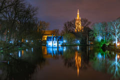 Fairytale night Lake Minnewater in Bruges, Belgium Royalty Free Stock Photos