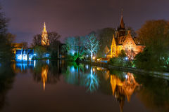 Fairytale night Lake Minnewater in Bruges, Belgium Royalty Free Stock Images