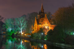 Fairytale night landscape at Lake Minnewater in Royalty Free Stock Photo
