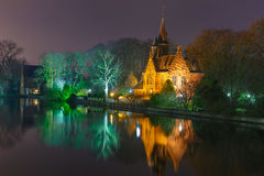 Fairytale night landscape at Lake Minnewater in Stock Image