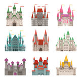 Fairytale old medieval castles or palaces with towers. Vector pictures in cartoon style. Tower castle building and fortress, architecture palace illustration Stock Photography