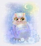 Fairytale owl in the snowy city. Royalty Free Stock Photos