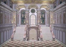 Fairytale Palace. 3D digital render of a beautiful royal fairy tale palace entrance Stock Image
