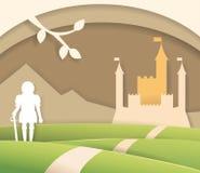 Fairytale paper castle. Art. Vector. Cartoon. Flat. Knight, mountain road Illustration for children`s books stock illustration