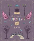 Fairytale party invitation with , lantern, bridge, well, trees, wings, chest,birds and butterflies. Fairy tale theme. Royalty Free Illustration