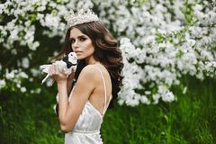 Fairytale picture - beautiful and brown-haired model girl with a crown on her head wearing lingerie, with a pigeon in her arm royalty free stock image