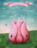 Fairytale pink carriage Stock Photos