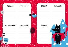 Fairytale vector organizer. Fairytale daily planner template. Note paper with funny Illustrations. Perfect for kids. Organizer and Schedule with wolf and castle Royalty Free Stock Photos