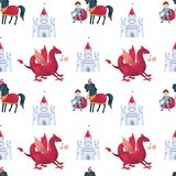 Fairytale prince and dragon pattern vector illustration