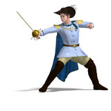 Fairytale prince with sword and cape Stock Image