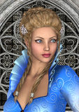 Fairytale Princess. 3D digital render of a beautiful fairy tale princess on a fantasy castle background Stock Image