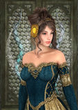 Fairytale Princess. 3D digital render of a beautiful fairytale princess on a fantasy castle background royalty free stock images