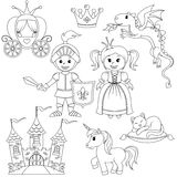 Fairytale princess, knight, castle, carriage, unicorn, crown, dragon, cat and butterfly. Black and white vector illustration for coloring book Royalty Free Stock Photo