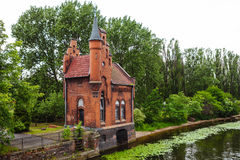 Fairytale red brick house-castle in Kaliningrad, Russia.  Stock Photos