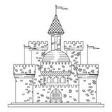 Fairytale royal thin line castle or palace building Royalty Free Stock Images