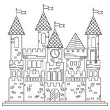 Fairytale royal thin line castle or palace building Stock Image