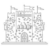 Fairytale royal thin line castle or palace building Stock Photo