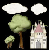 Fairytale scene cutouts. Digitally created chipboard cut outs to create fairytale castle scene Royalty Free Stock Photo