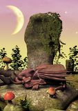 A fairytale scene with a little pink dragon sleeping on a rock. stock photography
