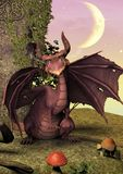 A fairytale scene with a pink dragon sitting in a rock. stock photography