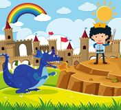 Fairytale scene with prince and blue dragon royalty free illustration