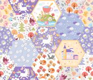 Free Fairytale Seamless Patchwork Pattern With Unicorns, Cats And Foxes, Castle, Flowers And Trees In Magic Forest. Cute Print Royalty Free Stock Photography - 160709327
