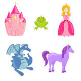 Fairytale Set. Illustration of different colorful fairytale elements Stock Image