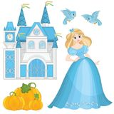 Fairytale Set Cute Princess Cinderella Royalty Free Stock Image