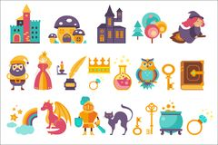 Fairytale set, princess, princess, castle, gnome, witch, dragon, rainbow, knight and othe elements vector Illustrations. Isolated on a white background Royalty Free Stock Image