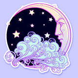 Fairytale style crescent moon with a human face resting on a curly ornate cloud with a starry nignht sky behind Stock Images