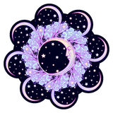 Fairytale style crescent moon with a human face surrounded by curly ornate clouds with a starry nignht sky behind. Stock Photo
