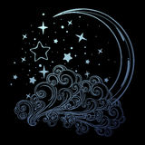 Fairytale style crescent moon with stars resting on a curly ornate cloud. Decorative element for tattoo textile prints Royalty Free Stock Photography