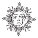 Fairytale style hand drawn sun and crescent moon with a human faces. Stock Photos