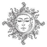 Fairytale style hand drawn sun and crescent moon with a human faces. Royalty Free Stock Photo
