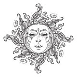 Fairytale style hand drawn sun with a human faces. Royalty Free Stock Photography