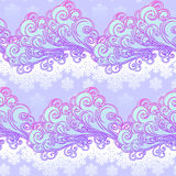 Fairytale style winter festive seamless pattern. Curly ornate clouds with a falling snowflakes. Christmas mood. Pastel. Palette. EPS10 vector illustration Stock Images