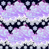 Fairytale style winter festive seamless pattern. Curly ornate clouds with a falling snowflakes. Christmas mood. Pastel. Palette. EPS10 vector illustration Royalty Free Stock Image