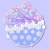 Fairytale style winter festive sticker. Curly ornate clouds with a falling snowflakes. Weather forecast icon. Christmas. Mood. Pastel palette. EPS10 vector Royalty Free Stock Image