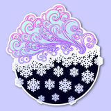 Fairytale style winter festive sticker. Curly ornate clouds with a falling snowflakes. Weather forecast icon. Christmas. Mood. Pastel palette. EPS10 vector Stock Images