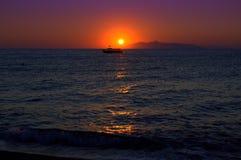 Fairytale sunrise Santorini Greece Stock Photos