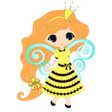 Fairytale sweetheart Princess bee, cartoon girl. Stock Photography