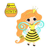 Fairytale sweetheart Princess bee, cartoon girl. Vector drawing honey Royalty Free Stock Photo