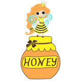 Fairytale sweetheart Princess bee, cartoon girl. Vector drawing honey Royalty Free Stock Image