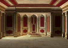 Fairytale Throne Room. 3D digital render of a beautiful fairytale throne room in red and gold vector illustration