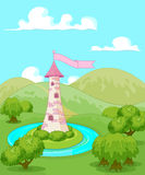 Fairytale tower. Magic fairytale tower rural landscape Stock Photo
